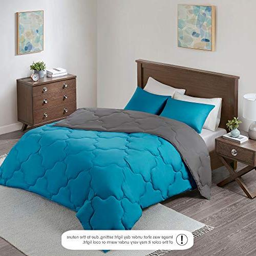 Reversible Goose Comforter 3 Piece and Geometrical Pattern – Full/Queen Size, 2