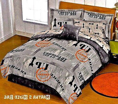 WAREHOUSE DISTRICT SIGNS Gray Urban DORM Bedding Comforter B