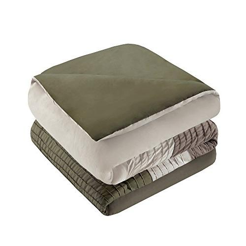 Comfort Spaces – Windsor Comforter Set- – Brown, Ivory – Pintuck King Includes 1 Comforter, 2 Decorative 1 Bed Skirt