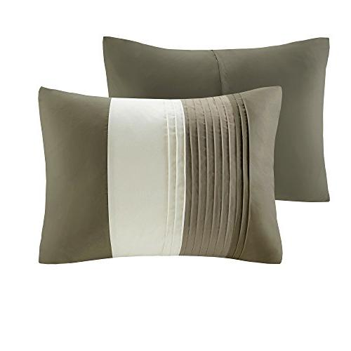 Comfort – Khaki, Brown, Ivory – King Size, Includes Comforter, Shams, 1 Decorative Skirt