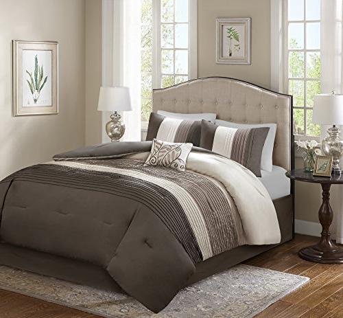 Comfort – Comforter Piece – Brown, – King Includes 1 Comforter, Shams, Decorative Pillow, Skirt