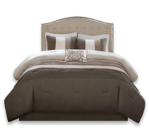 Comforter 5 Piece – – Pintuck King Comforter, Shams, 1 Decorative 1 Skirt