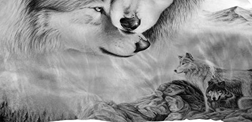 YSJ PCS Duvet Cover Set Full Queen with Zipper Closure,Lovers Wolf Pattern Printed-King Bedding Comforter Pillowcases