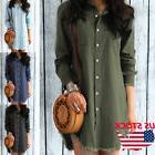 Women Jeans Denim Pocket Long Sleeve Loose T Shirt Slim Skir