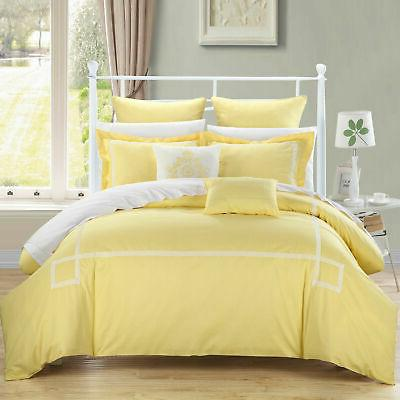 woodford yellow queen embroidered comforter bed in
