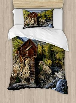 Landscape Duvet Cover Set by Ambesonne, Secluded Wooden Cabi