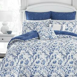 Laura Ashley Elise Navy Floral 7-piece Full Queen Size Comfo