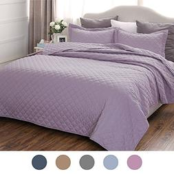 "Lavender Bedding Quilt Set King Size 106""x96"" Diamond Patter"