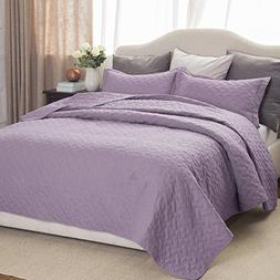 "Bedsure Lavender Quilt Set-King Size Bedspread 106""x96"" -3 P"