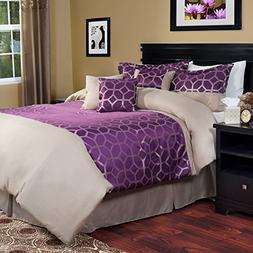 Lavish Home 7 Piece Aria Comforter Set Purple and White