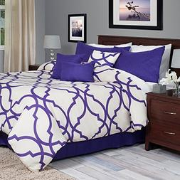 Lavish Home 7-Piece Oversized Trellis Comforter Set, King, P