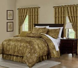 Lennox 7-Piece Gold Floral Jacquard Embroidered Comforter or