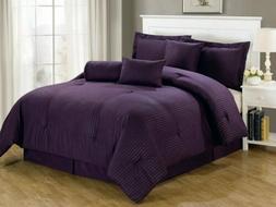 Chezmoi Collection Lex 7-Piece Solid Purple Hotel Dobby Stri