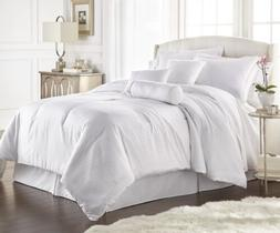 Chezmoi Collection 7-Piece Solid White Hotel Embossed Dobby