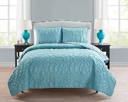 Queen Quilt Bedding Set Light Blue Beach Ocean Theme Seashel