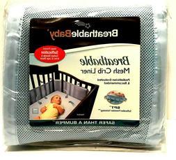 light blue mesh crib liner bumper