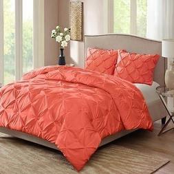 Light Gray Full Queen Pintuck bedding Comforter Mini Set bed