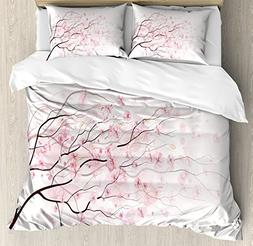 Light Pink Queen Size Duvet Cover Set by Ambesonne, Artistic
