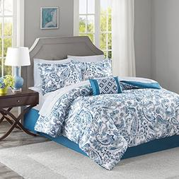 Lila Complete Comforter and Cotton Sheet Set Indigo Queen