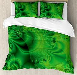 Ambesonne Lime Green Duvet Cover Set Queen Size, Vibrant Abs