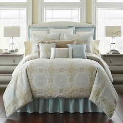 Waterford Linens Jonet Reversible King Comforter Set in Crea