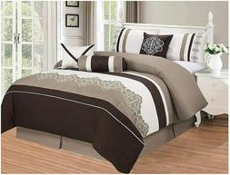 Lisbun 7 Piece Embroidered Over-Sized Comforter Set