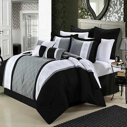Chic Home Livingston Black Comforter Bed In A Bag Set 8 piec