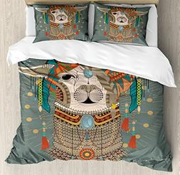 Ambesonne Llama Duvet Cover Set Queen Size, Colorful Headwea