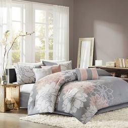 Madison Park Lola Comforter, King, Grey/Blush