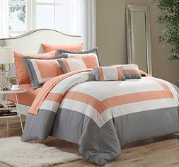 Lord 10 Piece Pieced Color Block Bed in a Bag Comforter Set,