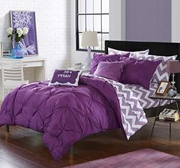 Chic Home 9 Piece Louisville Pinch Pleated and Ruffled Chevr