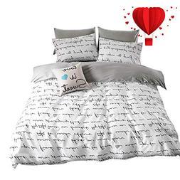 BuLuTu Love Letters Print Cotton Kids Duvet Cover Queen Set