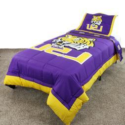 LSU Tigers Reversible Comforter Set w Sham, Twin, Full, Quee