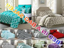 Luxurious 10-PC Modern Geometric Revers Comforter Set Bed In
