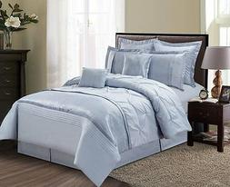 Luxurious 8 Piece Dust Blue Pinched Pleated Style Comforter