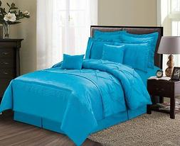 Luxurious 8 Piece Ocean Blue Pinched Pleated Style Comforter