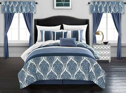 Luxurious Blue Embroidered Medallion 20 pcs Comforter Sheets