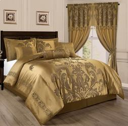 Luxurious Gold 7 pcs Jacquard Floral Comforter Cal King Quee