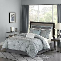 Luxury 12pc Blue & Grey Jacquard Woven Comforter Set AND She