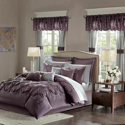 Luxury 24pc Plum Purple Tufted Comforter Set, Sheets, Pillow