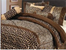 Luxury 7 Piece Animal Giraffe Print Micro Fur Comforter Shee