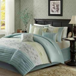 Luxury 7pc Aqua & Green Embroidered Floral Comforter Set AND