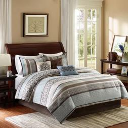 Luxury 7pc Blue & Brown Geometric Comforter Set AND Decorati