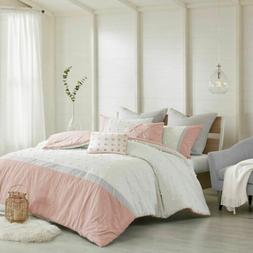 Luxury 7pc Blush Pink Ivory & Grey Tufted Dots Comforter  AN