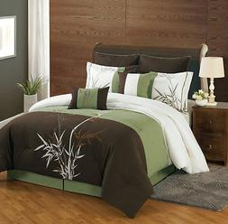 Luxury 8 Piece Asian Inspired Bamboo Embroidered Comforter S