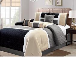 Luxlen 7 Piece Luxury Bed in Bag Closeout Comforter Set, Cal