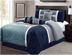 Luxlen 7 Piece Luxury Bed in Bag Comforter Set, Closeout, Ca