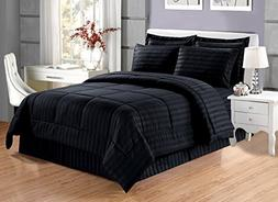 Grand Linen 8 piece Luxury BLACK Dobby Stripe Bed In A Bag R