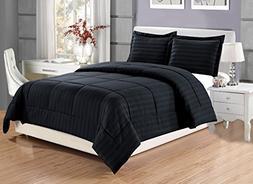 3 piece Luxury BLACK Dobby Stripe Reversible Goose Down Alte