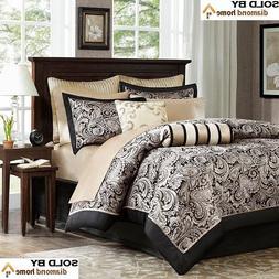 Madison Park Luxury Black/Gold Paisley Bedding Comforter Set